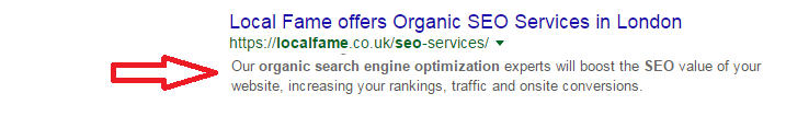 Description in SERP result