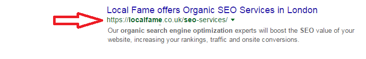 URL in SERP result