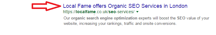 Title in SERP result