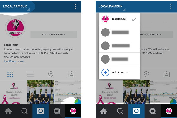 Switch instagram accounts from a drop-down menu