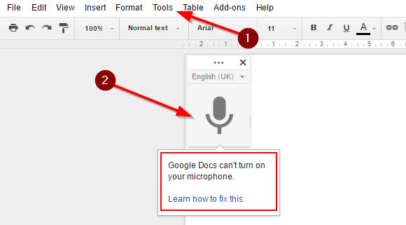 Instructions on how to use google voice type