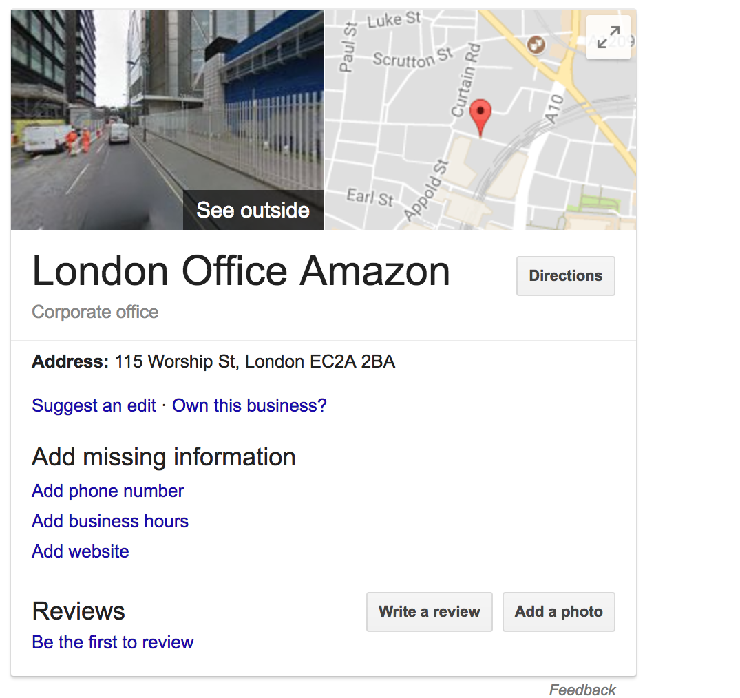 Amazon's new building and unclaimed listing