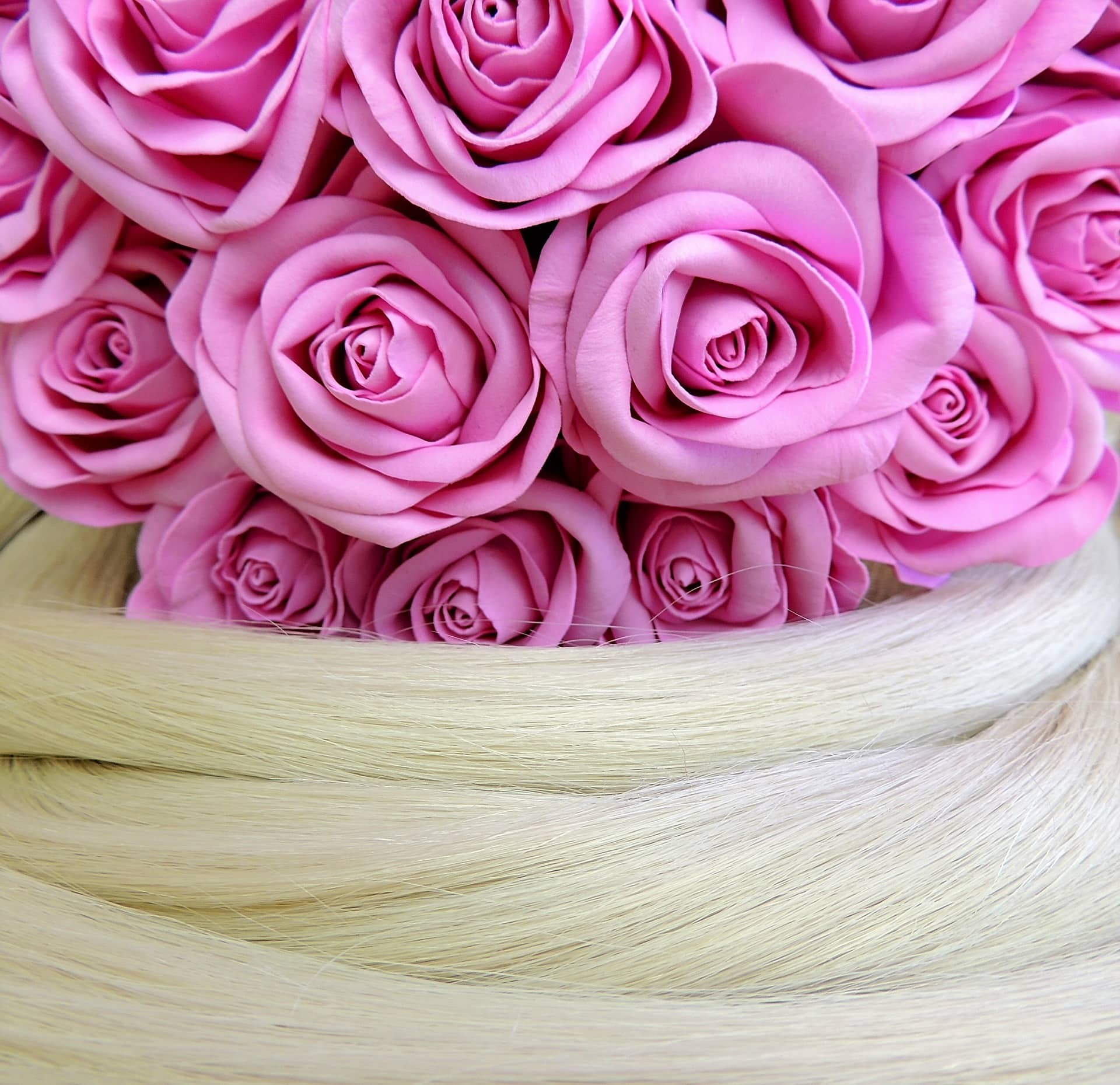 flowers in hair close up